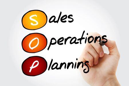 sop: Hand writing SOP - Sales and Operations Planning with marker, acronym business concept