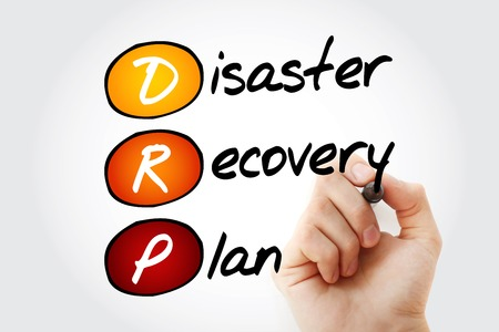 drp: Hand writing DRP - Disaster Recovery Plan with marker, acronym business concept