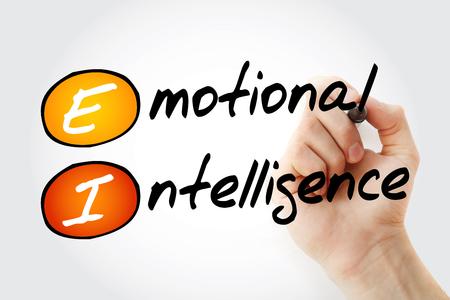 Hand writing EI - Emotional Intelligence with marker, acronym business concept