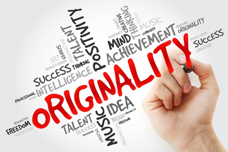 originality: Hand writing Originality with marker, word cloud business concept Stock Photo