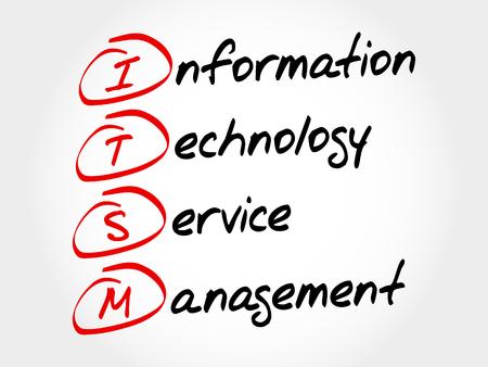 service desk: ITSM - Information Technology Service Management, acronym business concept Illustration