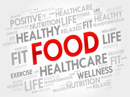 word: FOOD word cloud, fitness, sport, health concept