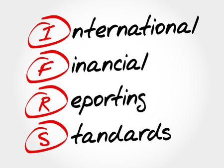 国際財務報告基準、国際会計基準 - 頭字語ビジネス コンセプト