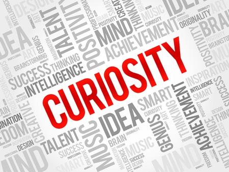 Curiosidad nube de la palabra, concepto de negocio