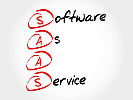 virtualization: SAAS - Software As A Service, acronym business concept Illustration
