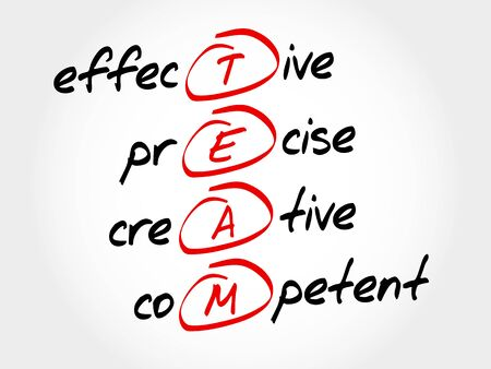 effective: TEAM - Effective, Precise, Creative, Competent, acronym business concept