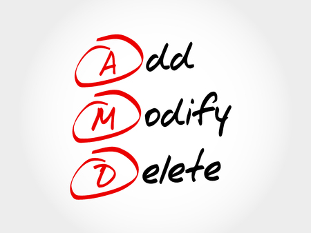 modify: AMD - Add, Modify, Delete, acronym business concept
