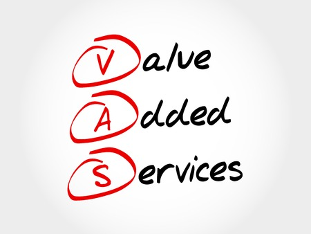 values: VAS - Value Added Services, acronym business concept