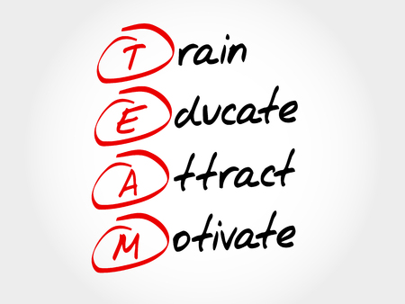 communicative: TEAM - Train, Educate, Attact, Motivate, acronym business concept