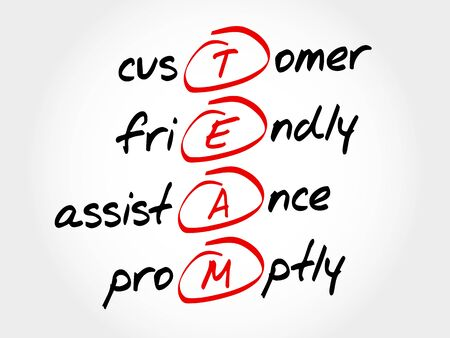 promptly: TEAM - Customer, Friendly, Assistance, Promptly, acronym business concept