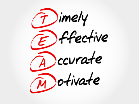 TEAM - Timely, Effective, Accurate, Motivate, acronym business concept Illustration