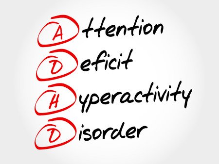 child care: ADHD - Attention Deficit Hyperactivity Disorder, acronym concept Illustration