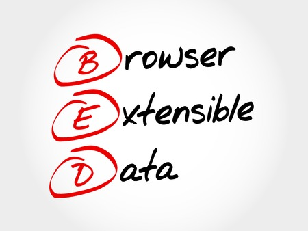 extensible: BED - Browser Extensible Data, acronym concept Illustration
