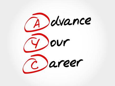 AYC - 事前あなたのキャリア、頭字語概念