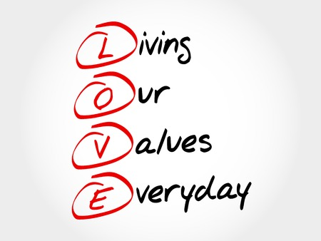 LOVE - Living Our Values Everyday, acronym business concept