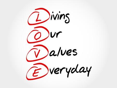 사랑 - 우리의 가치 생활 매일, 약자 비즈니스 컨셉