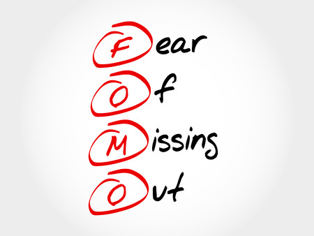 FOMO - Fear Of Missing Out, acroniem begrip Stock Illustratie