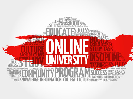 university word: Online University word cloud, education concept Illustration
