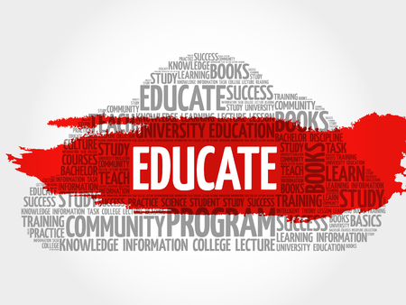 extramural: EDUCATE. Word education collage