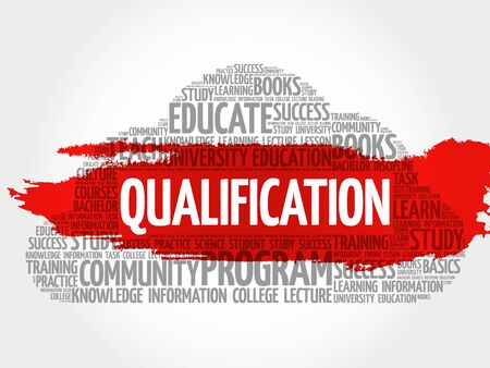 credential: Qualification word cloud, education business concept