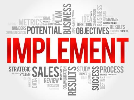 Implement word cloud, business concept Reklamní fotografie - 54973471
