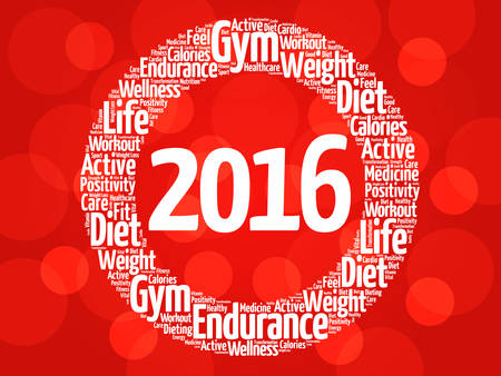 new years resolution: 2016 circle word cloud, health concept background