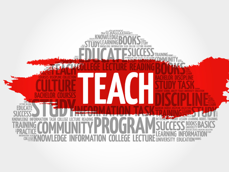 indoctrination: TEACH word cloud, education concept Illustration
