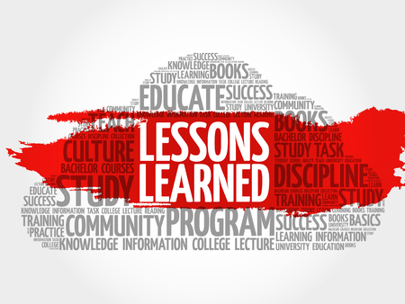 summarize: Lessons Learned word cloud, education concept Illustration