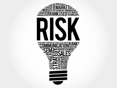 environmental analysis: RISK bulb word cloud, business concept