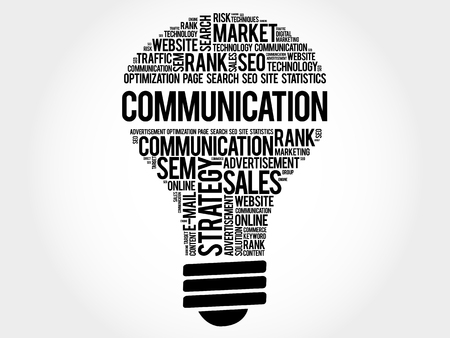 sender: COMMUNICATION bulb word cloud, business concept
