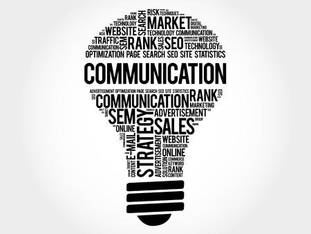 communication concept: COMMUNICATION bulb word cloud, business concept