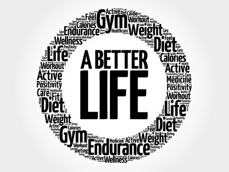 better: A Better Life circle word cloud, health concept