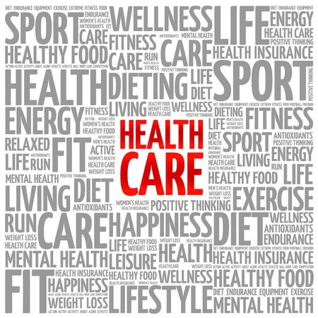nursing department: Health care word cloud background, health concept Illustration