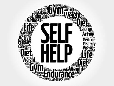 self help: Self Help circle word cloud, health concept