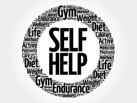 Self Help circle word cloud, health concept