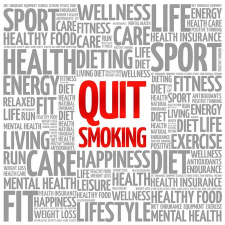 quit: Quit Smoking word cloud background, health concept