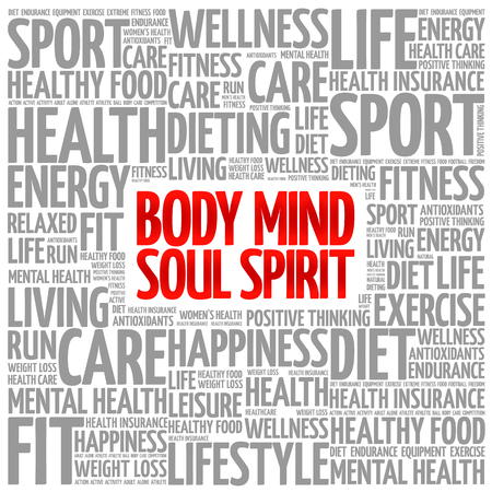 mind body soul: Body Mind Soul Spirit word cloud background, health concept
