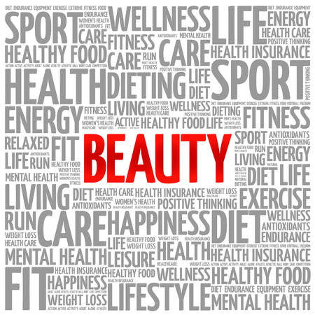 beuty: BEAUTY word cloud background, health concept