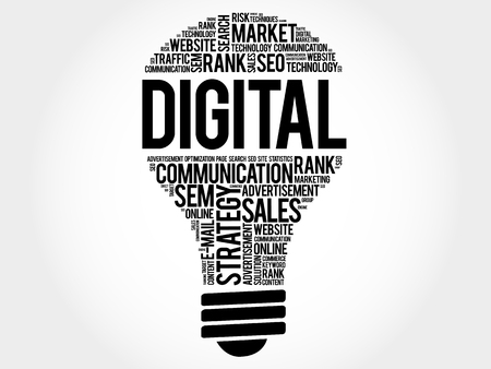 marketers: DIGITAL bulb word cloud, business concept