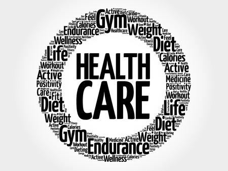 hospital expenses: Health care circle word cloud, fitness, sport, health concept