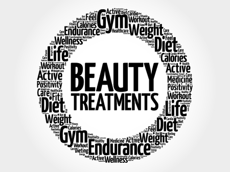 spa collage: Beauty Treatments circle word cloud, health concept