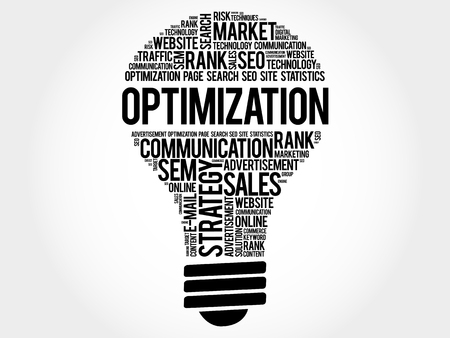 keywords  backdrop: OPTIMIZATION bulb word cloud, business concept