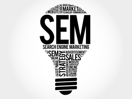 cloud search engine: SEM (Search Engine Marketing) bulb word cloud, business concept Illustration