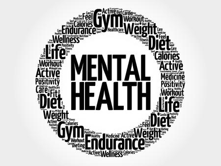 mentally: Mental health circle word cloud, health concept