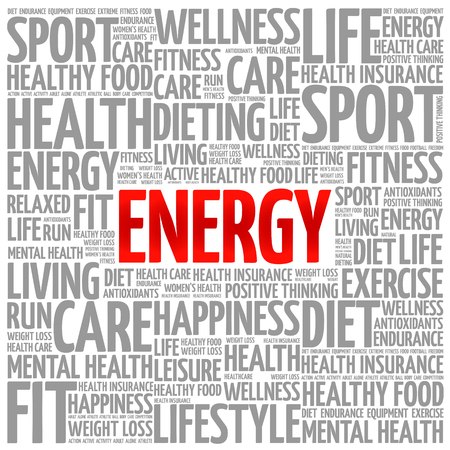 destress: ENERGY word cloud background, health concept