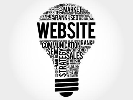 dynamic html: WEBSITE bulb word cloud, business concept Illustration