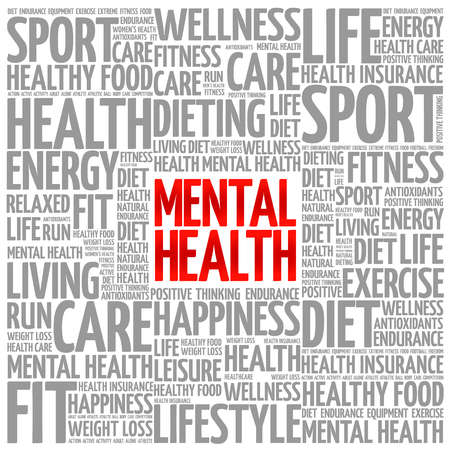 mentally ill: Mental health word cloud background, health concept