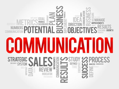 Communication word cloud, business concept Çizim