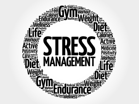 transactional: Stress Management circle word cloud, health concept