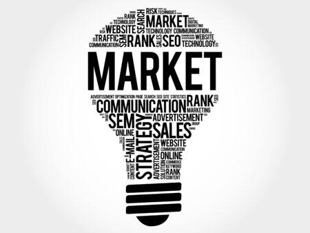 decoding: MARKET bulb word cloud, business concept Illustration